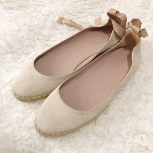 AERIN Nude Suede Espadrilles ballet with ankle tie